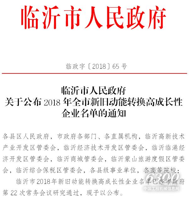 山东临工成功入选临沂市2018年新旧动能转换高成