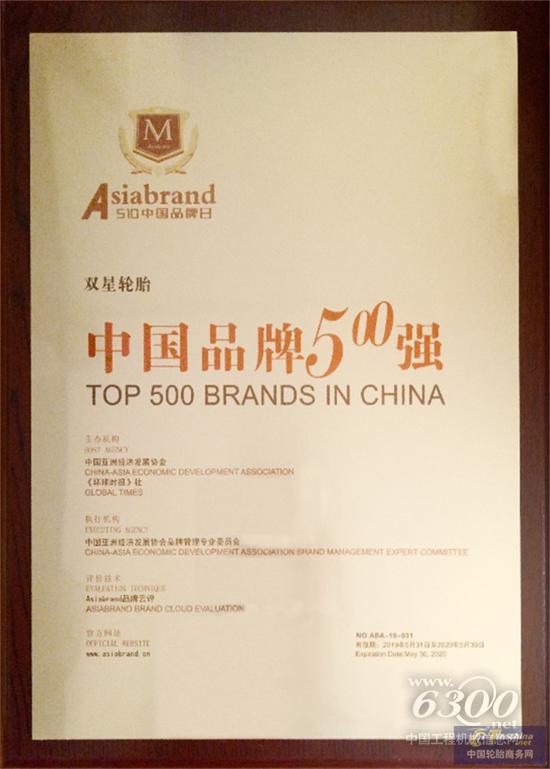 2019年5月31日,由中国亚洲经济发展协会、《环球时报》社联合主办的第三届中国品牌创新大会暨2019中国品牌500强发布会在北京隆重举行。双星轮胎成功入围中国品牌500强,以482.25亿元的品牌价值,排名中国轮胎行业第一名,同时与格力、中国中车、长城汽车等优秀品牌一起,荣膺中国十大影响力品牌。     本次大会以抢滩品牌金融新大陆为主题,汇聚更高端、更前沿的顶级智库、投资财团、品牌企业、创新典型,致力于助力国家品牌强国战略,释放创新能量,推动品牌价值提升的整体意识,弘扬中国自主品牌正能量