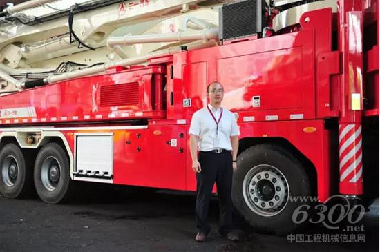 陈添明与三一大跨度举高喷射消防车