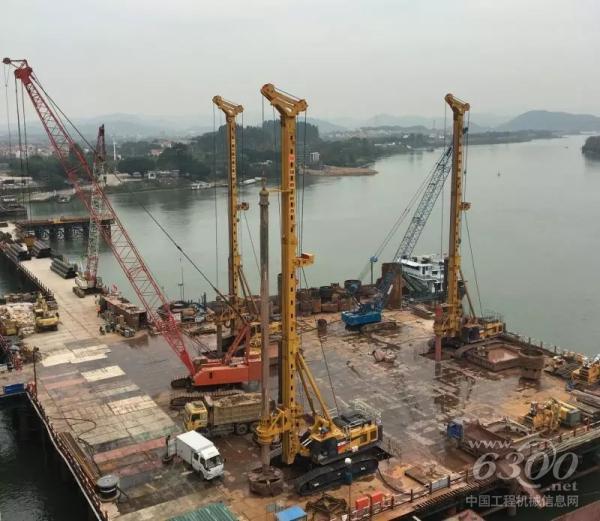 徐工XR550D旋挖钻机助力跨度世界第一铁路斜拉桥